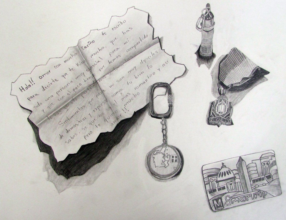 Trompe loeil inspired pencil drawings by art ii students incorporated items possess special meaning to the artists enjoy