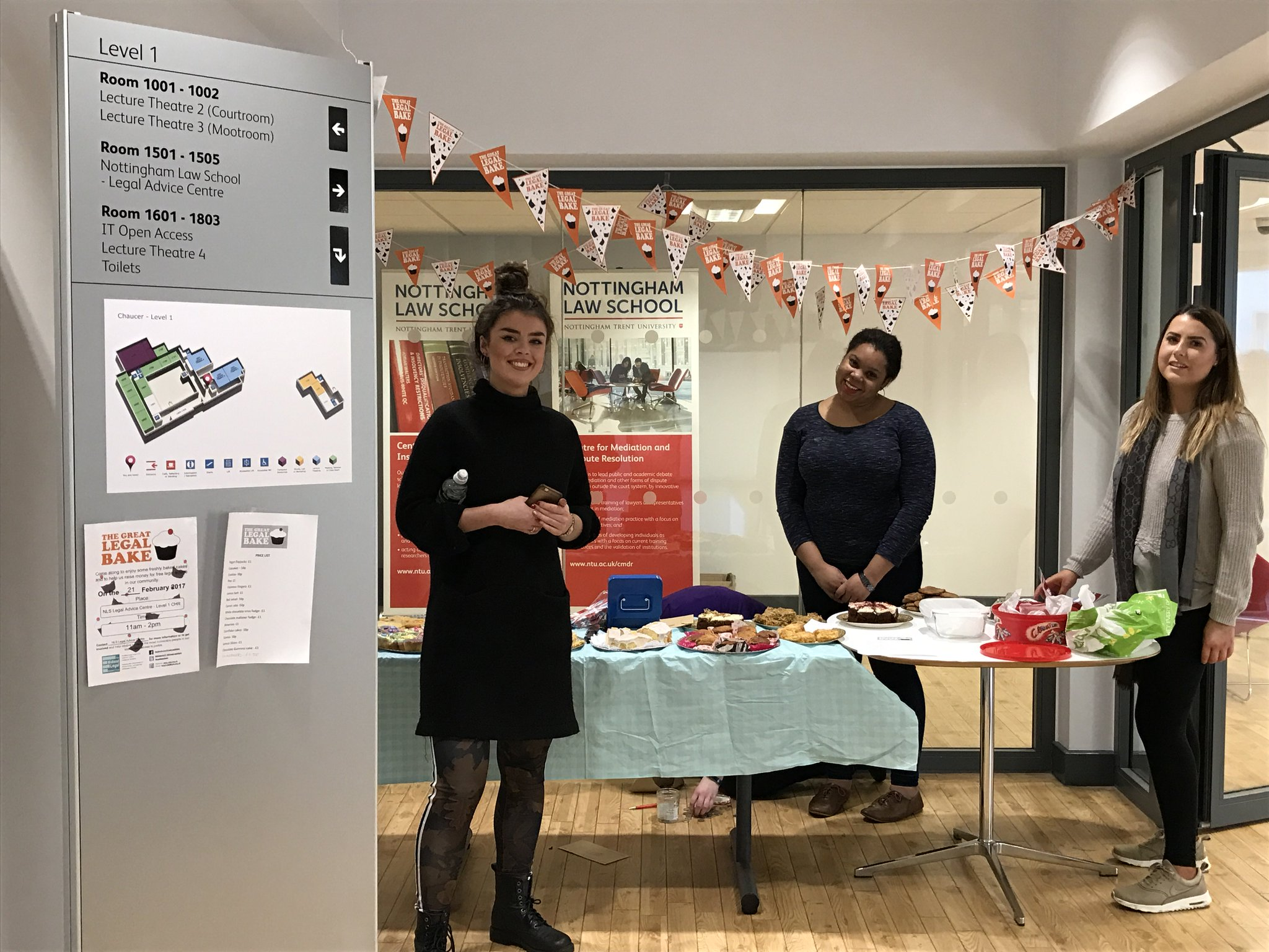 Another shot of our @greatlegalbake bake sale - there's still cakes available in Chaucer, but best be quick @TrentUni @LawNLS @NTUYouFirst https://t.co/9WUHk19keq