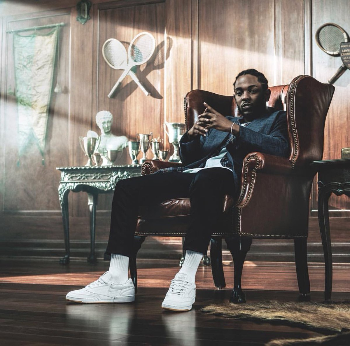 b6618de9b57 The man himself Kendrick Lamar wearing his  Tonal Gum Pack  Reebok Classic  Club C 85
