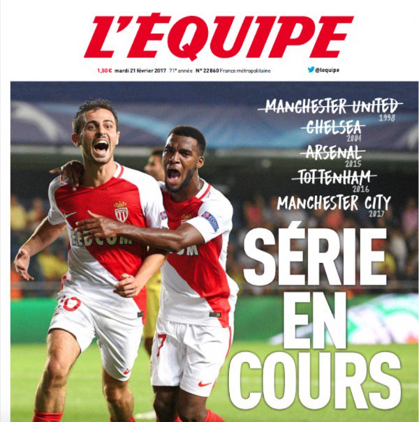 غلاف الليكيب : موناكو يبحث عن سلخ فريق انجليزي جديد.  اليونايتد 98 تشلسي 2004 ارسنال 2015 توتنهام 2016