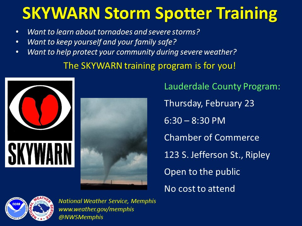 Live in #Lauderdale Co? #tnwx - #SKYWARN storm spotter class tomorrow (Thurs) in #Ripley. Learn severe storm clues, weather safety.<br>http://pic.twitter.com/xnsKlpjkyc