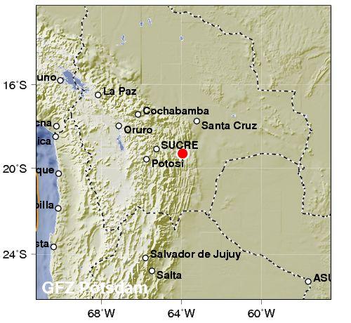Sismo Profundo (mas de 600km), Magnitud preliminar 6.7mw en Territorio Boliviano , se percibio en regiones de Arica Parinacota y Tarapaca