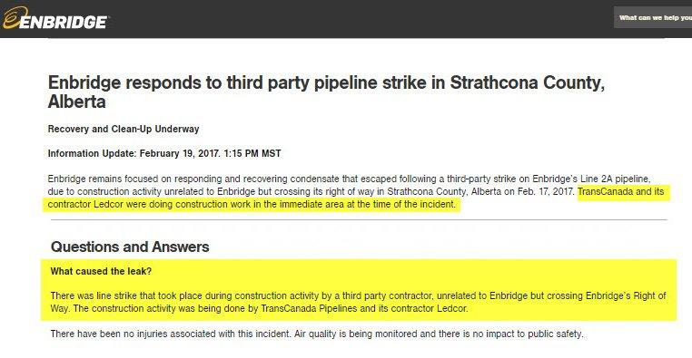 #TransCanada serait à l'origine de la fuite des 200 000 litres d'hydrocarbures qui se sont échappés du #pipeline 2A d&#39;Enbridge. #EnergieEst<br>http://pic.twitter.com/V0aH1C8WqP