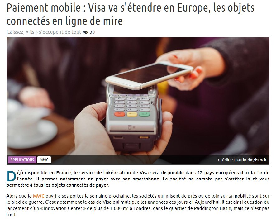 Paiement #mobile : #Visa va s&#39;étendre en #europe , les objets connectés en ligne de mire &gt;  http:// bit.ly/2mj79ey  &nbsp;   v/@nextinpact #Iot @Visa <br>http://pic.twitter.com/NhaZXDBIRf