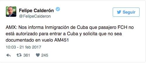 A Felipe Calderón le impiden entrar a Cuba https://t.co/6vj8RKdLDY htt...