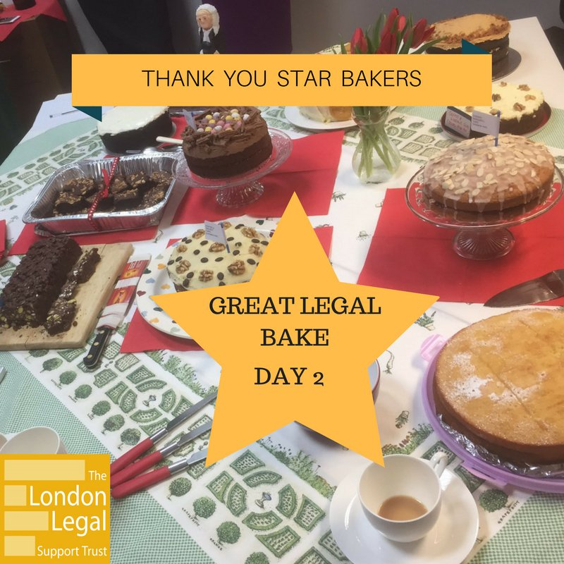 Another brilliant bake day! Thanks to all taking part in the #GreatLegalBake. Loving all of your pictures #bakeforjustice https://t.co/5gQKM7lKqQ