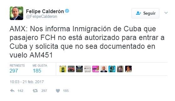 Niegan a @FelipeCalderon entrada a #Cuba https://t.co/6WXu4rex0R https...