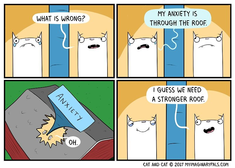 In #todays #cat and cat #comic the #cats #talk about #anxiety and #how to #contain it  If anyone ever needs to chat,  please message me.<br>http://pic.twitter.com/38AuFwpqsx