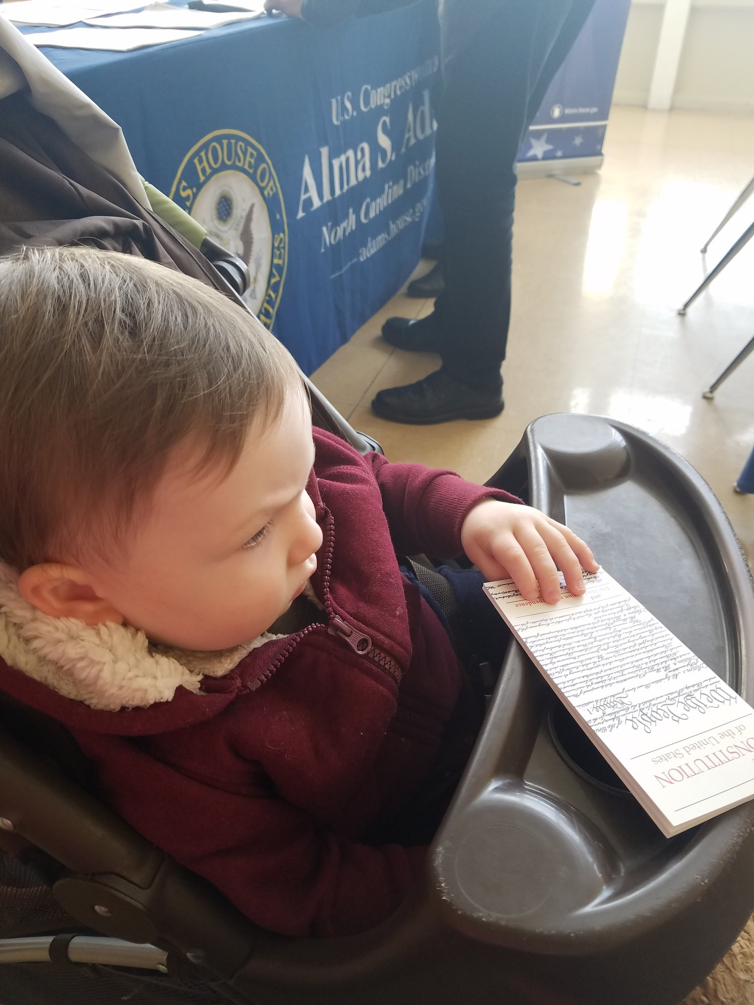 A little light reading at @RepAdams office hours in #huntersville..#startemyoung @jonlovett @jonfavs @TVietor08 #resistancerecess https://t.co/NDCEI8AKEn
