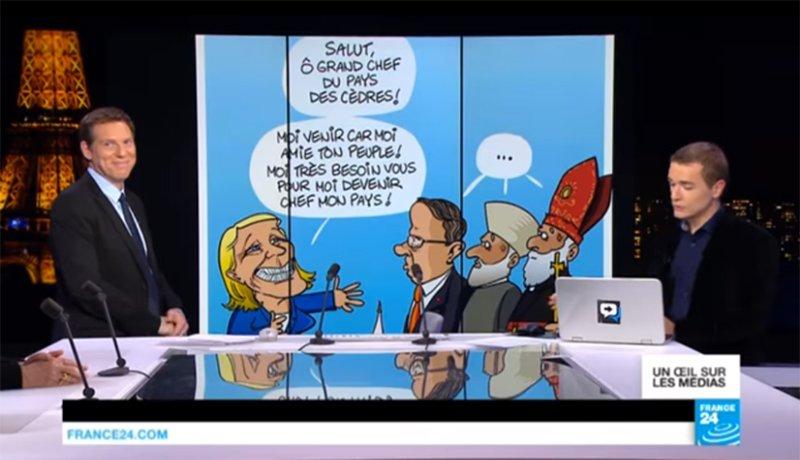 my #cartoon in @DebatF24 and &#39;Un Oeil Sur Les Medias&#39;, on 20-02-2017 #MarineLePen in #Lebanon #Liban #LePen<br>http://pic.twitter.com/m6cDnenQWR