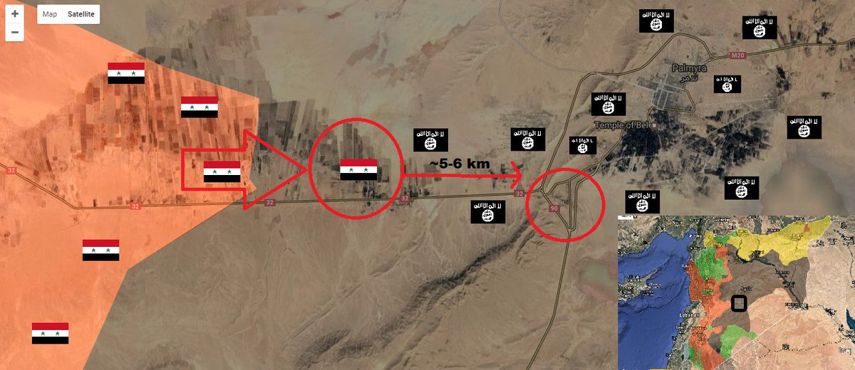 #SAA #SyrianArmy with #RuAF support is now ~5/6 km away from #ISIS held #Palmyra triangle area. #Syria #Russia #SyriaCrisis #terrorism<br>http://pic.twitter.com/6tctS0Doy2