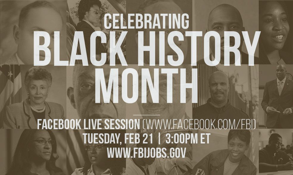 TODAY at 3pm EST: An #FBI facebook live event in honor of #BlackHistoryMonth .  Submit questions using #FBILive:  https://www. facebook.com/FBI/videos/101 54989231706212/ &nbsp; … <br>http://pic.twitter.com/05OY5aokuz