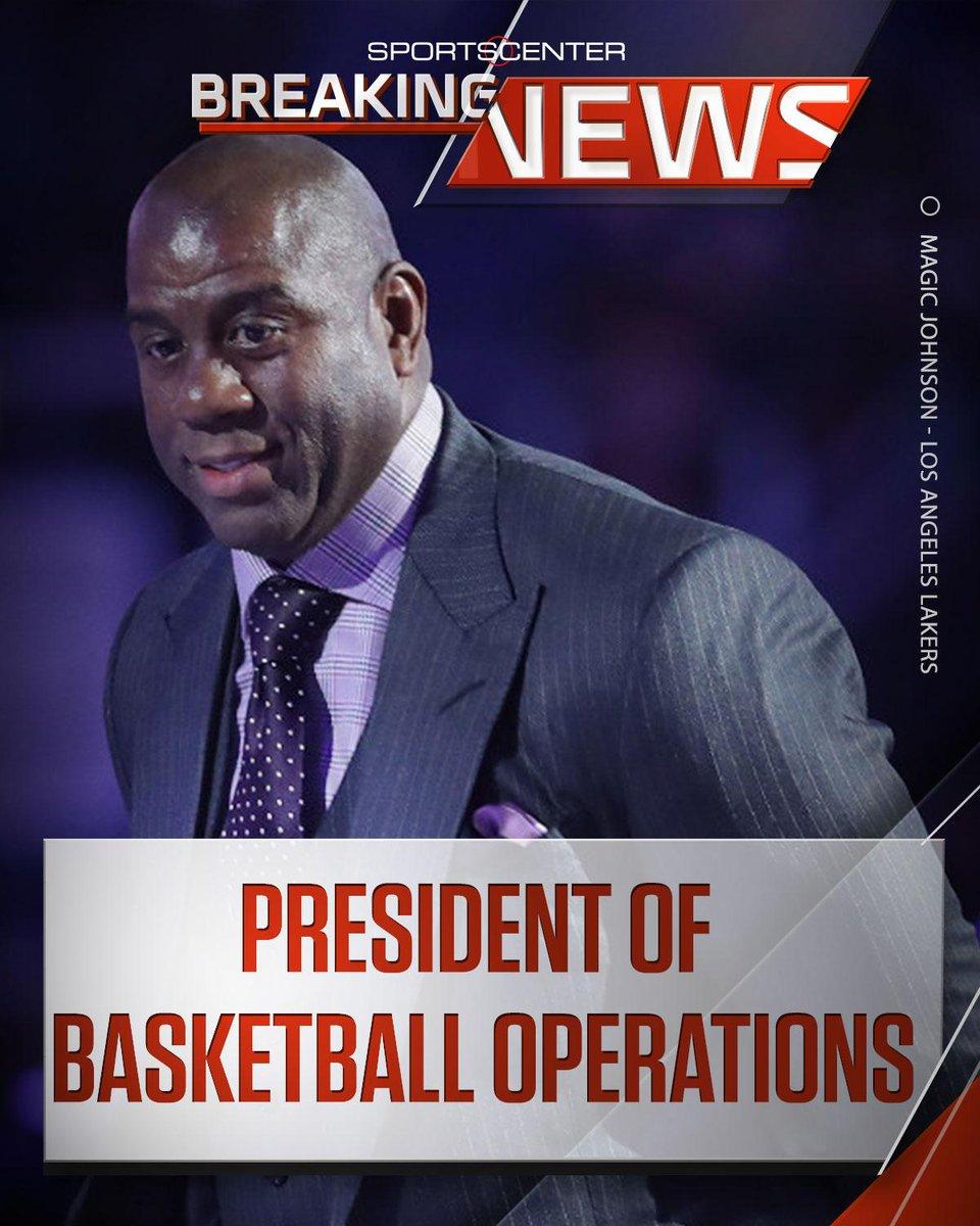 """SportsCenter on Twitter """"BREAKING Lakers name Magic Johnson"""