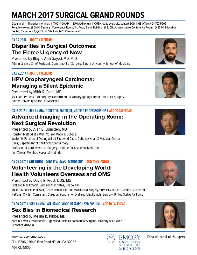 Emory Calendar.Emory Medicine On Twitter Emory Surgery Grand Rounds March 2017