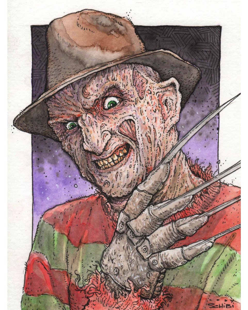 The Man of Your Dreams 5&quot;x7&quot; watercolor/ink #FreddyKrueger #NightmareOnElmStreet<br>http://pic.twitter.com/xd9sAj5t7b