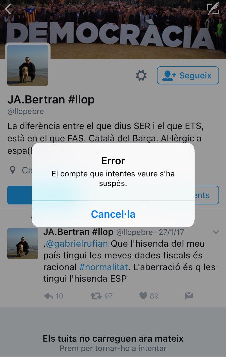 Compte @llopebre suspés per Twitter