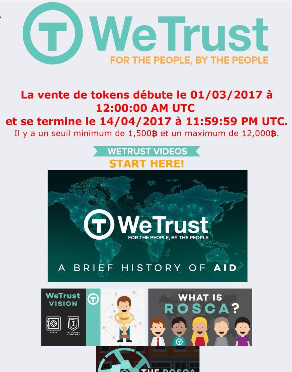 #WeTrust | WeTrust.io PLATEFORME D'ÉPARGNE &amp; D&#39;ASSURANCE | Infos en français  https:// bitcointalk.org/index.php?topi c=1790864.0 &nbsp; …  @WeTrustPlatform #ICO #bitcoin #FinTech<br>http://pic.twitter.com/hf366pWMPi