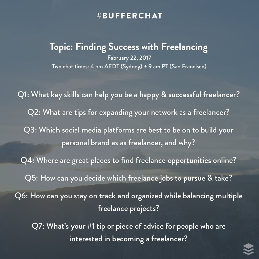 Feel free to explore the questions for the #bufferchat discussion on freelancing this Wednesday! (alt text:  http:// buff.ly/2le7NfB  &nbsp;  )<br>http://pic.twitter.com/JzTUx309fO