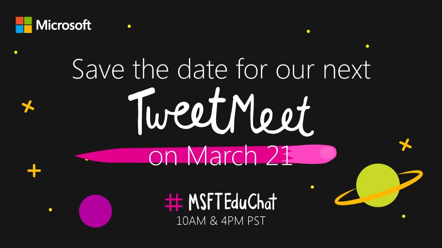 If you enjoyed this #MSFTEduChat, you'll love the next one! Join us on March 21 LIVE from #E2! #MicrosoftEdu<br>http://pic.twitter.com/OeWk8tu7vY