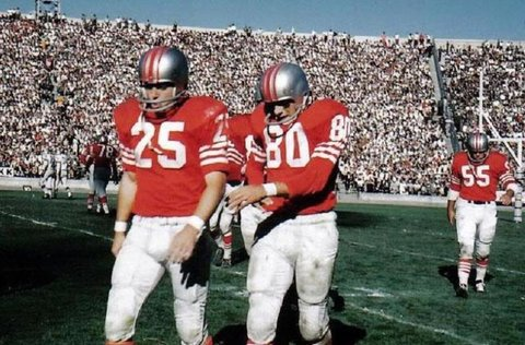 1960-1961 San Francisco 49ers. The silver helmet era. Added logo in  1962.pic.twitter.com PAJD2JJSMg 08f89f599