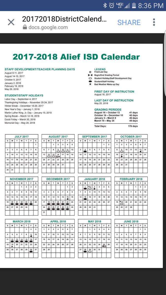Outley Elementary On Twitter Aisd 2017 18 Calendar