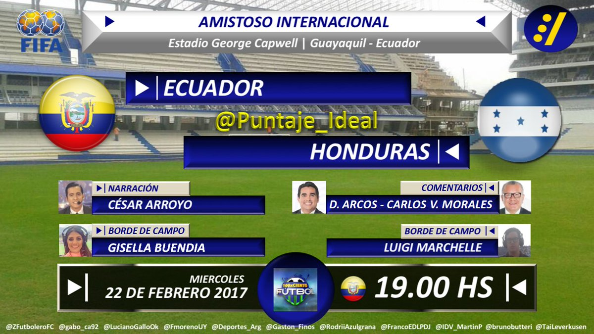 #Amistoso | #Ecuador vs #Honduras Con @carroyos @DiegoArcos14 @CarlosVictorM @gisellabuendia @luigimarchelle #TV: @tctelevision Dale RT<br>http://pic.twitter.com/2s9LfebQrf