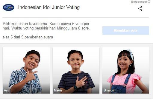 Junior jangan lupa ya utk terus dukung TOP 3 jagoan favorit kamu Via Google Vote #IdolJr2016 @official_MNCTV https://t.co/FvC0xLMzie