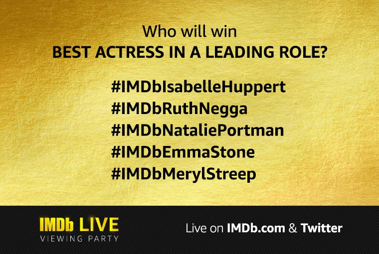 Who will win Best Actress in a Leading Role? Use the branded hashtag below to submit your vote! #Oscars