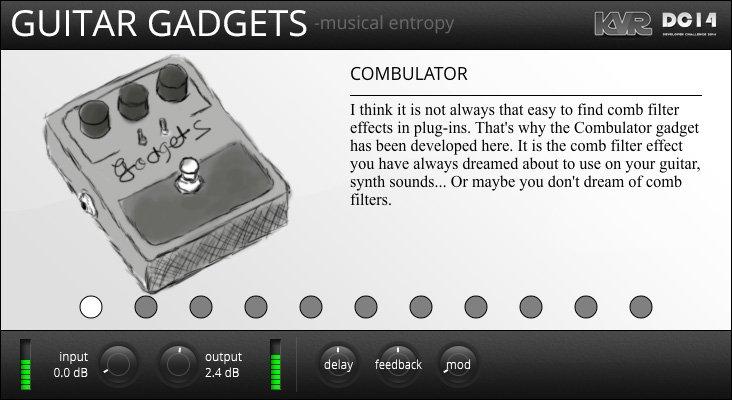 Guitar Gadgets変わったサウンドを生み出すコンパクトエフェクターシミュレーションのプラグイン。合計14のエフェクトを搭載し、4つまで組み合わせることが出来ます。
