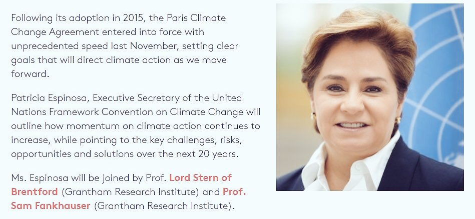 With webcast Wednesday: @PEspinosaC to speak about opportunities of #ClimateAction  http:// bit.ly/2lngk0a  &nbsp;   #LSEEspinosa #ParisAgreement <br>http://pic.twitter.com/dzIBNivnts