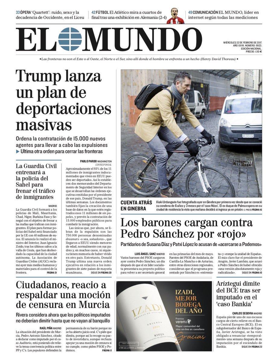 ☕📱 Buenos días. Esta es la portada de este 22 de febrero #FelizMiercol...
