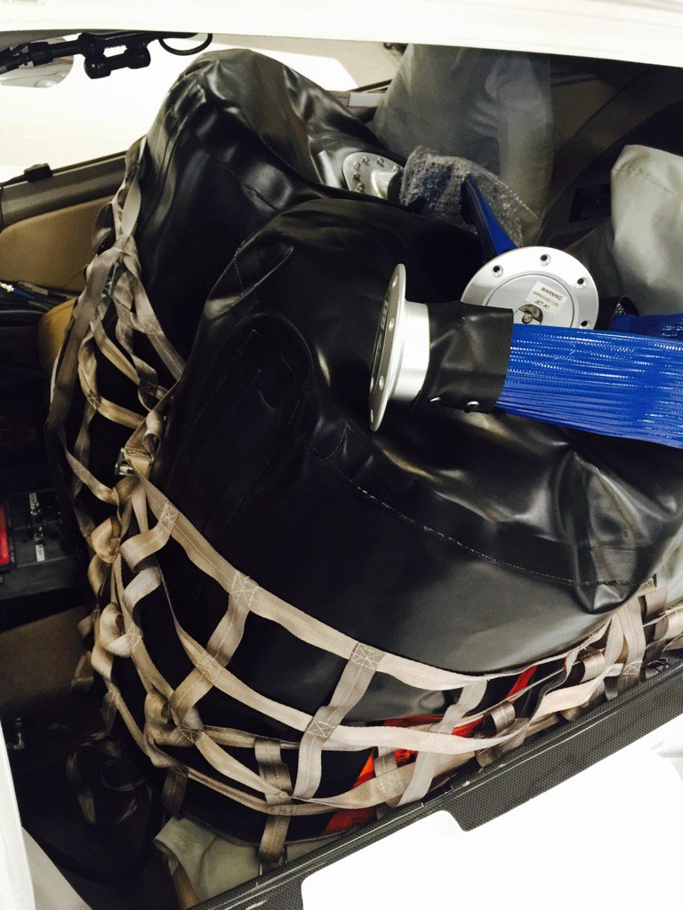 Two fuel tanks on rear seats....allowed capacity 22.25USG each...will give extra (approx) 600nm #RoundTheWorldSolo x https://t.co/FziXhi1Uvm