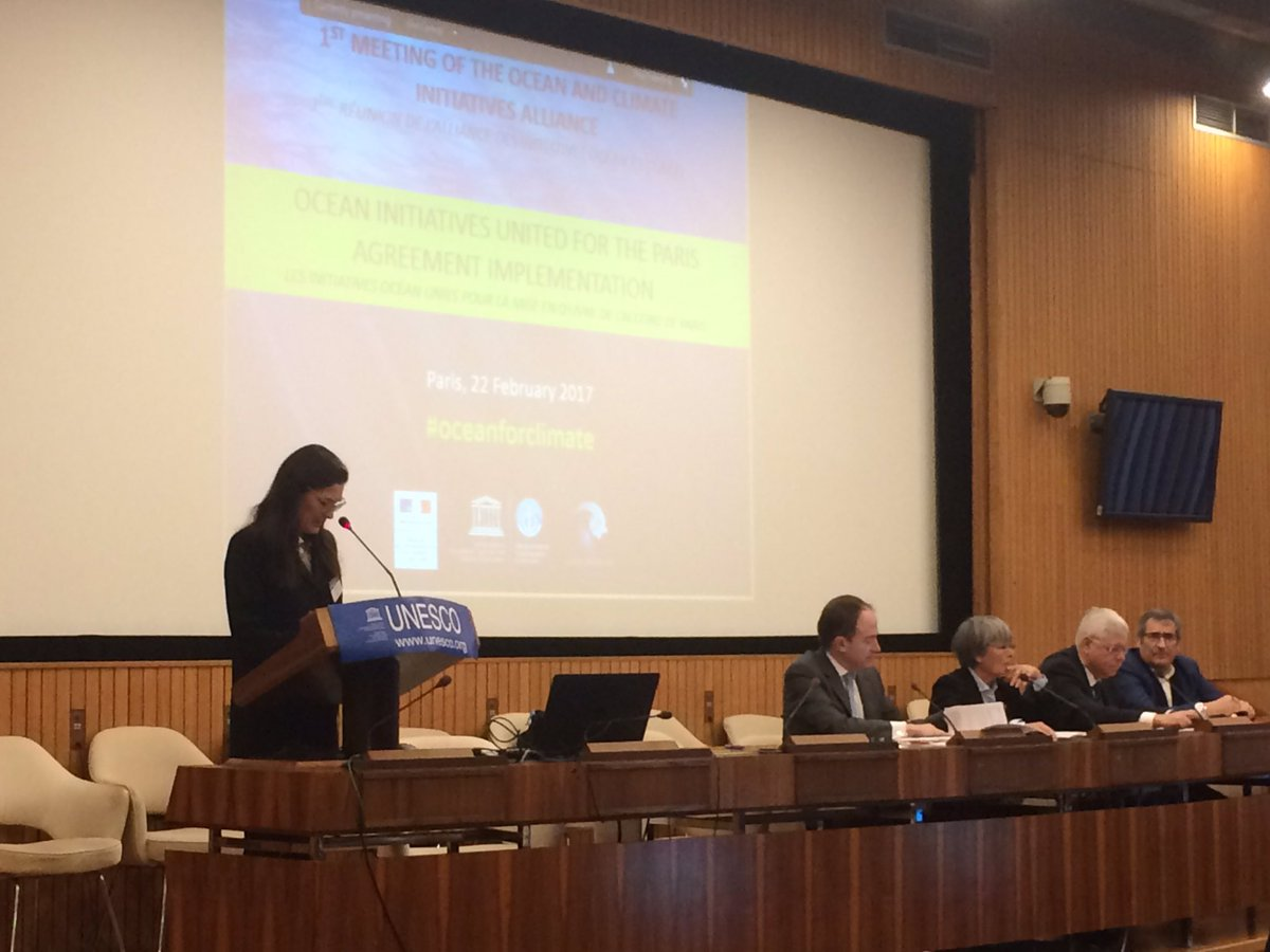 Patricia Ricard launching the first meeting of the @ocean_climate Initiatives Alliance @UNESCO. United for #ParisAgreement implementation <br>http://pic.twitter.com/LIdTXgtAwB