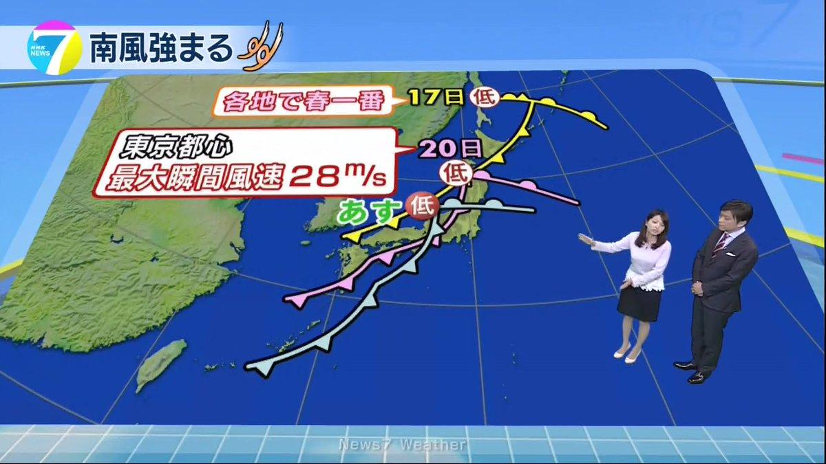 【N7福岡良子の気象つぶやき】 あす(23日)は、また春の嵐に。各地で春一番が吹いた先週金曜日。東京で台風並みの風が吹いた今週月曜日。あすも...
