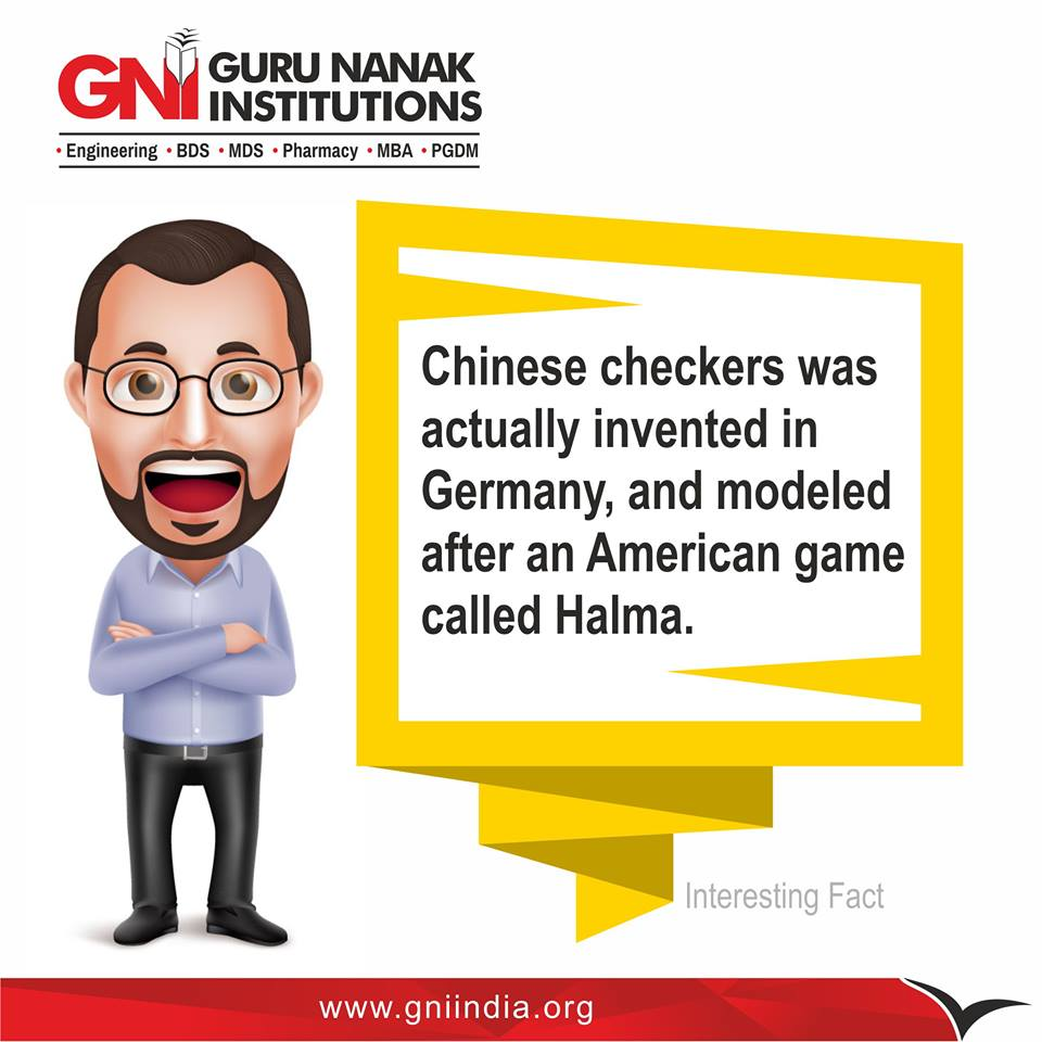 Chinese checkers was actually invented in Germany, and modeled after an American game called Halma. #Chinese #Germany #American #Game #Halma <br>http://pic.twitter.com/MS4DBxG5nY