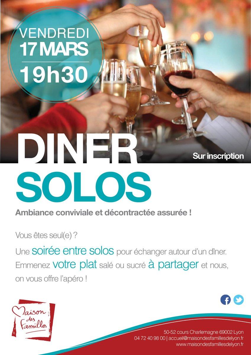 #Solo ? Venez partager un moment de convivialité lors du dîner solos du Vendredi 17/03 à 19h30 :  http:// bit.ly/1YjOY6O  &nbsp;  <br>http://pic.twitter.com/PxPzH2v9wO