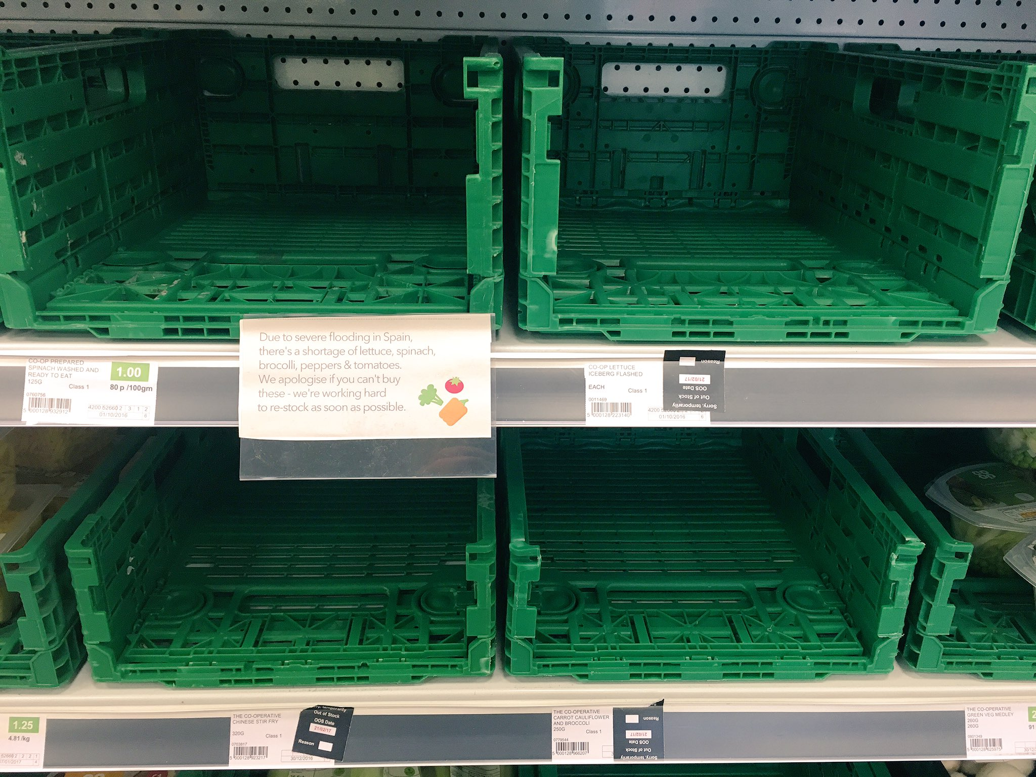 Scenes in my local: Due to shortage of lettuce, spinach, broccoli, peppers AND tomatoes it might be time to start thinking #local https://t.co/uMykzs4IbL
