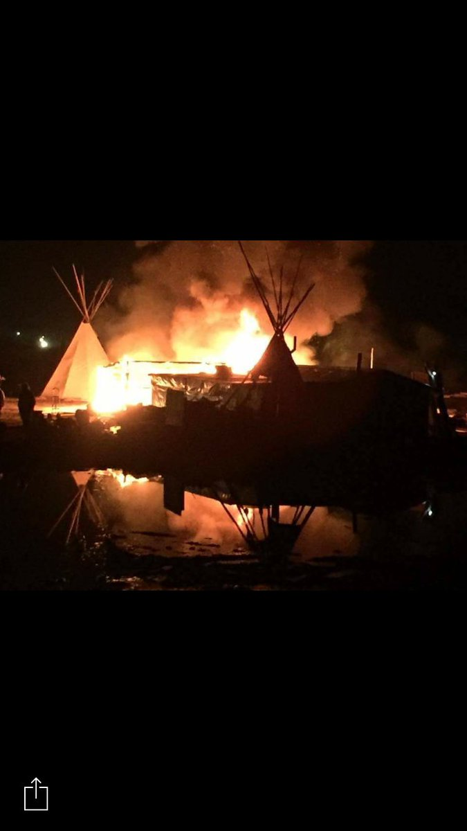 Last night at main #StandingRock camp some water protectors burned str...