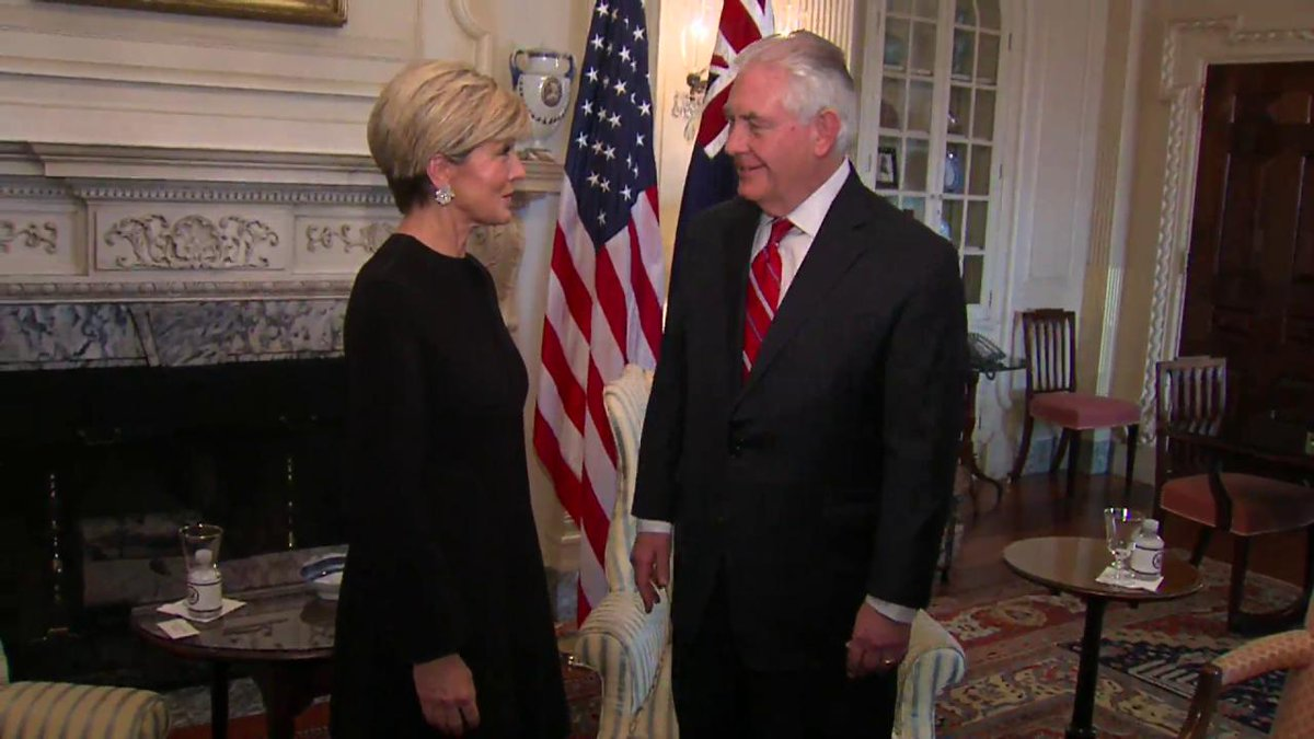 This morning, Secretary Tillerson welcomed Australia's Foreign Minister @JulieBishopMP to @StateDept.