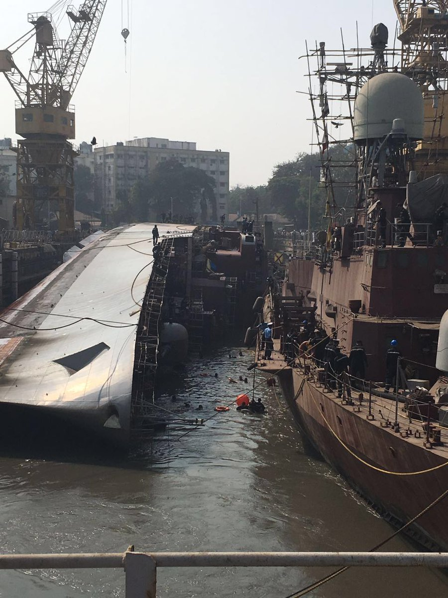 INS Betwa that keeled over in dock in Dec 2016, back on even keel