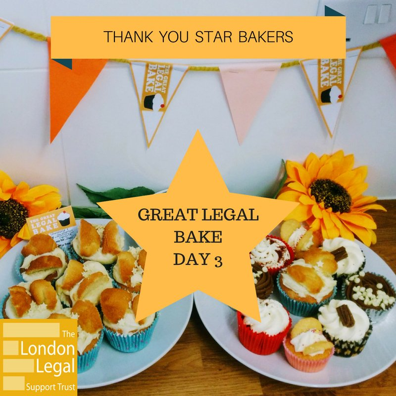 Day 3 was fantastic! Thanks to all taking part in the #GreatLegalBake. Keep the pictures of your tasty treats coming! #bakeforjustice https://t.co/6ta6zKz6UL