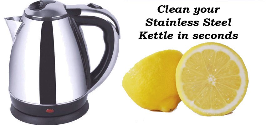 Clean Stainless Steel Electric Kettle Quick &amp; Easy #DIY Cut LEMON in two &amp; put into kettle Fill with water &amp; boil Job done #fixit in sec&#39;s  <br>http://pic.twitter.com/mbbP3HroCm