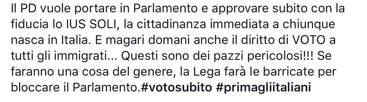Se faranno una cosa del genere, la Lega farà le barricate per bloccare il Parlamento. #IusSoli #NOIusSoli #votosubito #primagliitaliani