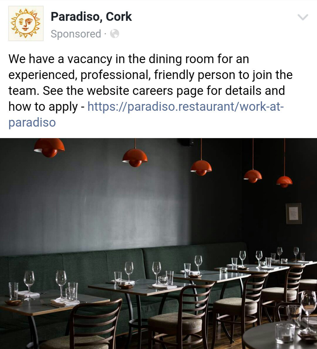 "cork job fairy on twitter: ""cafe paradiso is hiring in cork"