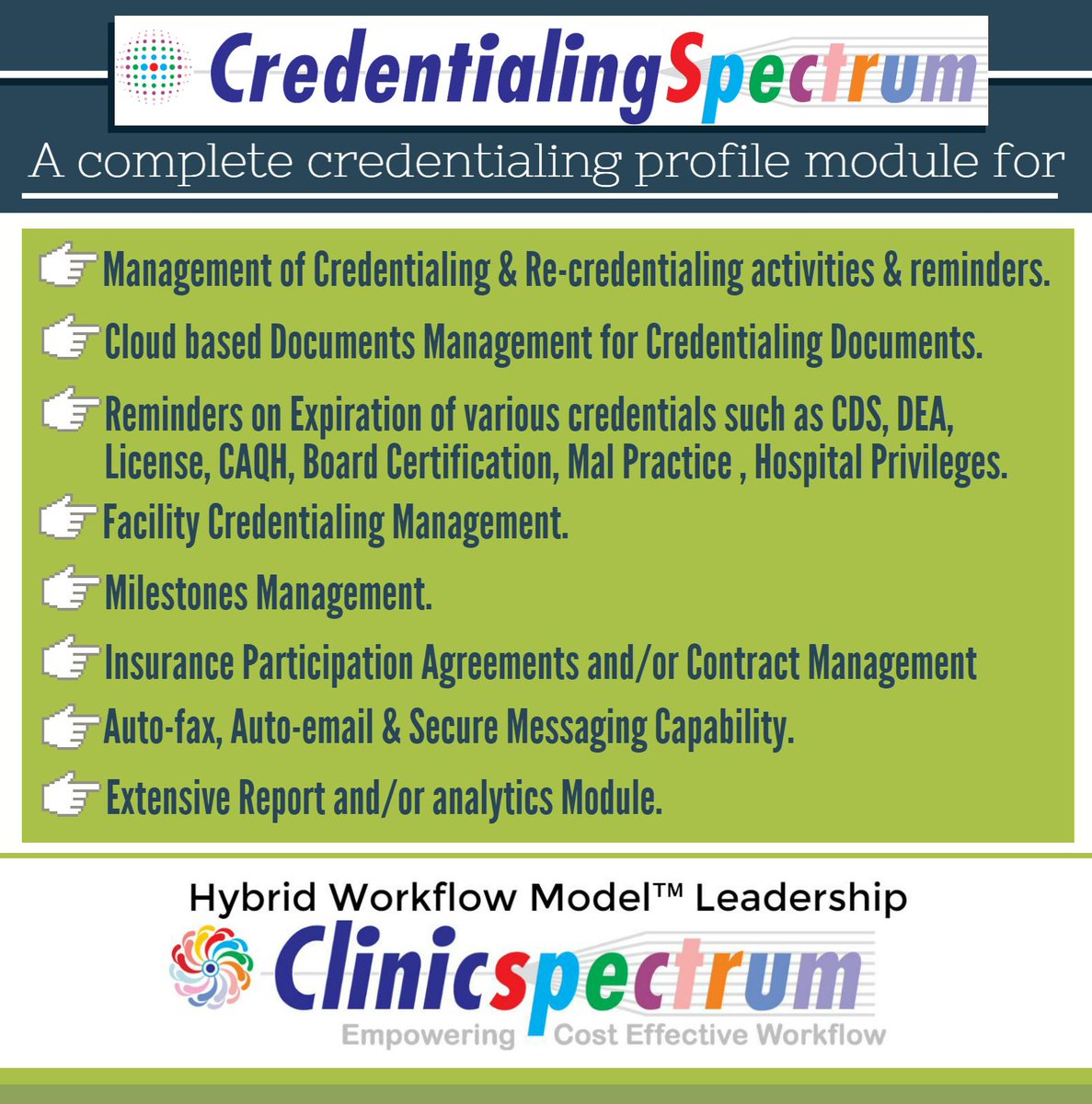 #Credentialing profile module #infographics #healthcare  #HIMSS17 visit booth #472 @ClinicSpectrum #MakeHITCount  http:// bit.ly/2kMOuqg  &nbsp;  <br>http://pic.twitter.com/gF6JB4EHvM