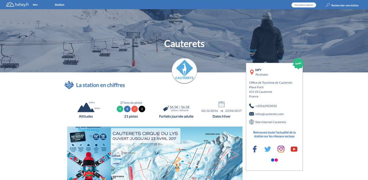 Nouvelle inscription  Bienvenue à la station de @cauterets65110 qui est désormais inscrite sur @hohey_fr ! #ski #snow <br>http://pic.twitter.com/fa9mZuUoKu