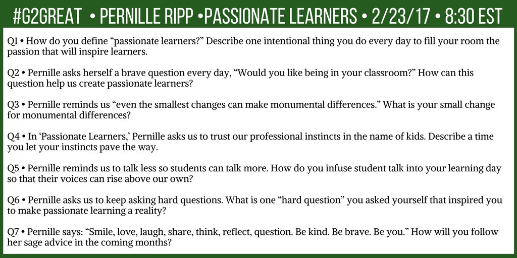 Join #G2Great and @pernilleripp tonight here are our questions: https://t.co/ZF4nc3CJOh