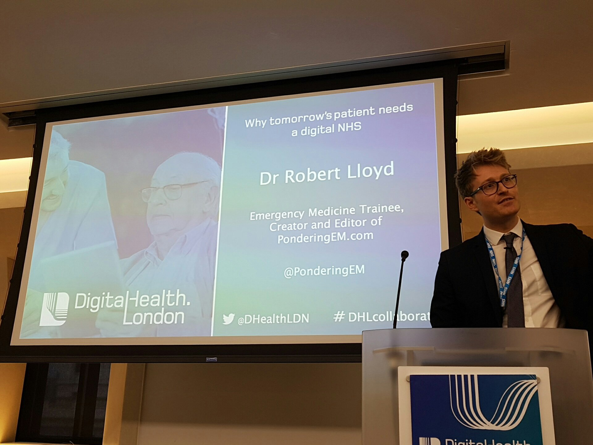 Dr Robert Lloyd @PonderingEM is our MC - he's talking of the front line challenges in the NHS #DHLcollaborate https://t.co/7cCmubkm82