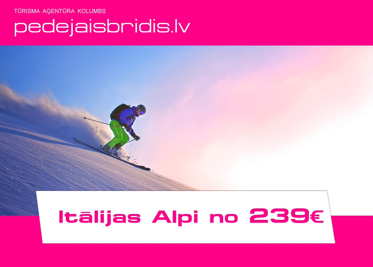 Uzputo sniegu Alpos! Lec kupenās Itālijā tikai par 239€. Pērc savu ceļojumu te: https://t.co/WNOBfFOkaV https://t.co/yKRwxXzTHW
