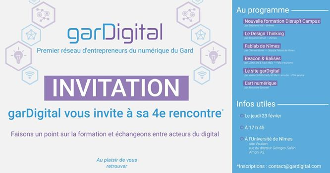 Demain rdv 17h45 à @unimesfr pour la 4e rencontre @garDigital. Inscription: contact@gardigital.com #digital #numerique #innovation #Gard<br>http://pic.twitter.com/9C0yXfTH8m